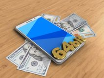 3d banknotes. 3d illustration of white phone over wooden background with banknotes and 64 bit sign Vector Illustration
