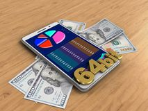 3d 64 bit sign. 3d illustration of white phone over wooden background with banknotes and 64 bit sign Royalty Free Stock Photo