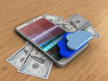 3d banknotes. 3d illustration of white phone over wooden background with banknotes and clouds Stock Illustration