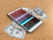 3d banknotes. 3d illustration of white phone over wooden background with banknotes and Stock Illustration