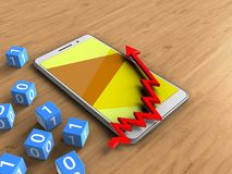 3d arrow chart. 3d illustration of white phone over wooden background with binary cubes and arrow chart Stock Photos