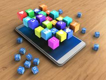 3d binary cubes. 3d illustration of white phone over wooden background with binary cubes and icons Stock Images