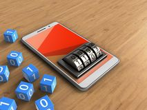 3d lock dial. 3d illustration of white phone over wooden background with binary cubes and lock dial Stock Photography