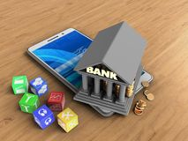 3d bank. 3d illustration of white phone over wooden background with cubes and bank Stock Photography