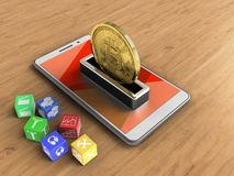 3d cubes. 3d illustration of white phone over wooden background with cubes and bitcoin Stock Photo