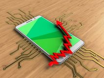 3d arrow chart. 3d illustration of white phone over wooden background with electronic circuit and arrow chart Stock Images