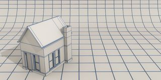 Simple house model. 3d illustration of a white simple house model Royalty Free Stock Image