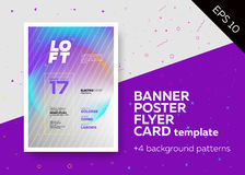 Bright Vector A4 Template with Text Grid. Trendy Geometric Patterns, Colorful Backgrounds.. Applicable for Print Banner, Web Banner, Party Poster, Flyer Stock Photography