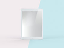 3D Illustration of White Tablet on Simple Pastel Pink Mint Backg. Front View of White Tablet on Simple Pastel Pink Mint Background. 3D Illustration of Realistic Stock Photography