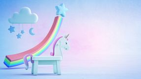 3d illustration of white toy unicorn and rainbow financial graph on blue floor with colorful sky background. 3d rendering of fantasy horse in startup business Royalty Free Stock Images