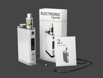 3d Illustration of White Vape Pen with box and charge cable. isolated black royalty free illustration
