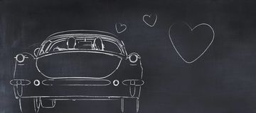 3D illustration of a whiteboard with a drawing. Of a car and hearts Royalty Free Stock Image