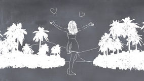 3d illustration of a whiteboard with a drawing. Of a woman Royalty Free Stock Photo