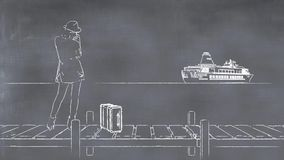3D illustration of a whiteboard with a drawing of a woman. Waiting at a quay Royalty Free Stock Photo