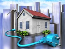 3d cable over city. 3d illustration of wind energy house with cable over city background Stock Photos