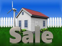 3d sale sign over grass and fence. 3d illustration of wind energy house with sale sign over grass and fence background vector illustration