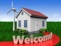 3d welcome sign over meadow Stock Photography