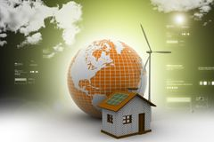 Wind mill and power house with globe. 3d illustration of Wind mill and power house with globe Stock Image