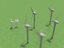 3D illustration of wind-power generation. Stock Photo