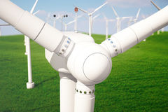 3d illustration, wind turbine with blue sky. Energy and electricity. Alternative energy, eco or green generators. Power. Ecology, technology, electricity Royalty Free Stock Photo