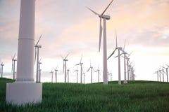 3d Illustration, Windkraftanlage mit Sonnenunterganghimmel Energie und Strom Alternative Energie, eco oder grüne Generatoren Lizenzfreies Stockfoto