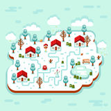 3D illustration of winter village. Vector flat style isometric 3d stock illustration of cartoon winter village, trees, well, footpath, pond, clouds, bench Stock Images