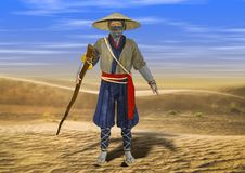 3D Illustration of Wise Old Traditional Asian Man Walking Through Desert. On Hot Summer Day Stock Images