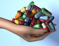 3d illustration of woman hand holding handful of drug medicine pills stock photos