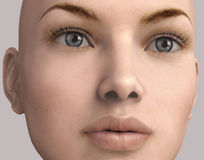 3D illustration of a womans face isolated Royalty Free Stock Photography