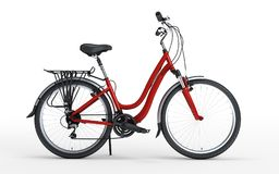 3d illustration. Women`s red bike looks to the right isolated on. White background. Side view Stock Image
