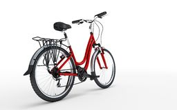 3d illustration. Women`s red bike looks to the right isolated on. White background. Rear view Royalty Free Stock Images