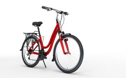 3d illustration. Women`s red bike looks to the right isolated on. 3d illustration. Woman`s red bike looks to the right isolated on white background Stock Photo