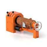 3d illustration. Wood processing, timber and machine on a white Royalty Free Stock Image
