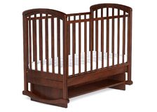 3d illustration Wooden baby cot isolated. 3d illustration Wooden baby cot on white background Stock Photos