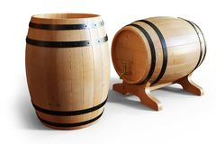 3D Illustration wooden barrels wine isolated on white background. Alcoholic drink in wooden barrels, such as wine. Cognac, rum, brandy Royalty Free Stock Photography