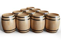 3D Illustration wooden barrels wine isolated on white background. Alcoholic drink in wooden barrels, such as wine. Cognac, rum, brandy Stock Photo
