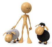 3d illustration wooden character with a sheep Stock Image