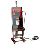 3d illustration of Wooden easel with phone and mouse, graphic app concept Royalty Free Stock Image