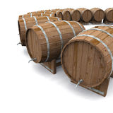 Wooden wine or beer barrels. 3d illustration of wooden wine or beer barrels arranged in circular shape on white background with copy space Stock Photography