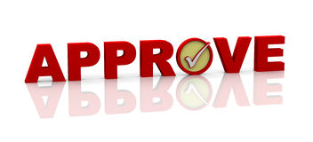 3d word approve with check mark Royalty Free Stock Photo