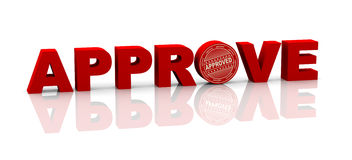 3d word approve with rubber stamp Royalty Free Stock Images