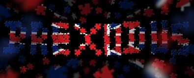 3D Illustration of the word BREXODUS, made out of puzzle pieces in the colours of the British flag. UNITED KINGDOM, 1 December 2017 - European people and royalty free illustration