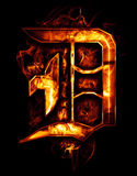 D, illustration of  word with chrome effects and red fire on bla Stock Image