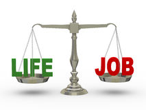 3d life and job on scale Royalty Free Stock Image