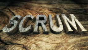 3D Illustration: The word Scrum. Is lined with metallic letters on wooden plank Royalty Free Stock Images