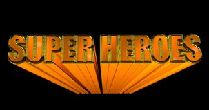 3D illustration of the word Super Heroes on black background. 3D rendering. Gold reflective typeface. Ready to insert into your projects vector illustration