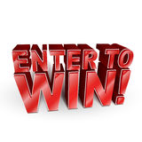 3d illustration of the words Enter to Win Stock Images