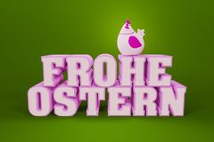 The words happy easter in german language with a chicken. 3d illustration of the words happy easter in german language with a chicken Stock Images