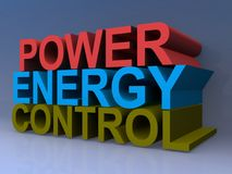 """Power Energy Control. A 3D illustration of the words """"Power"""" """"Energy"""" and """"Control Royalty Free Stock Photos"""