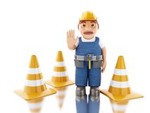 3d Construction worker with helmet and cones. 3d illustration. Worker with helmet and cones. Construction concept. Isolated white background Stock Images